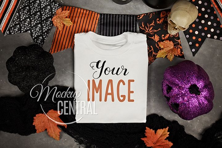 Blank White Folded Halloween T-Shirt Fall Shirt Mockup JPG