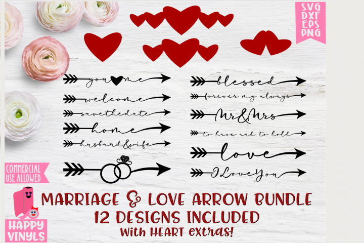 Marriage & Love Word Arrows - A Wedding and Love SVG Bundle