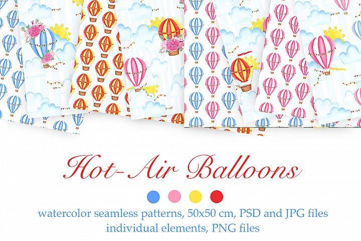 Watercolor Hot-Air Balloons Patterns