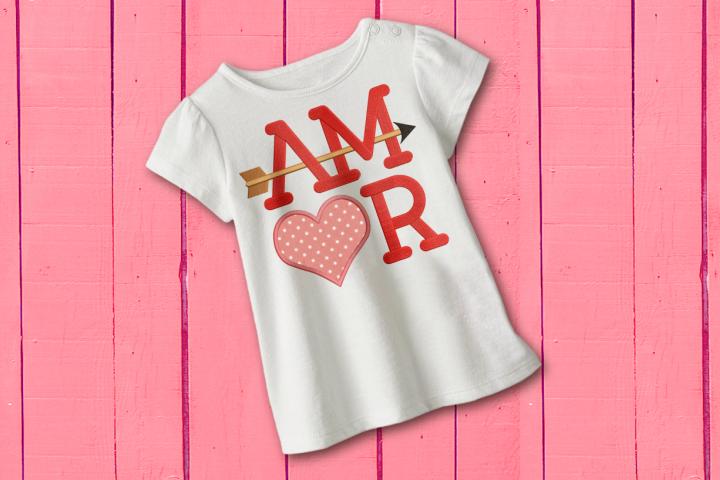 AMOR con Corazón y Flecha Applique Embroidery