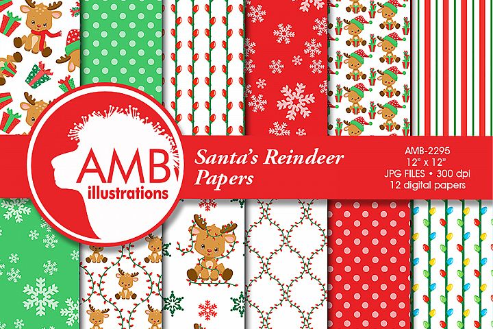 Santas Reindeer Patterns, Christmas Papers, AMB-2295