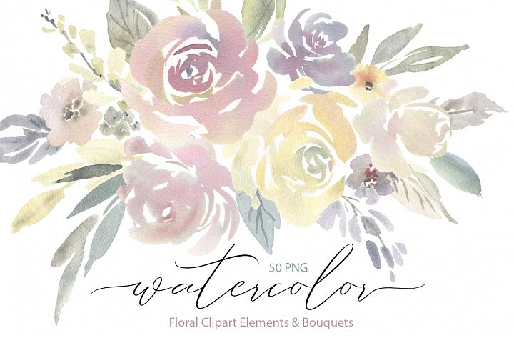 Watercolor Light Flowers Bouquets Roses Peonies PNG