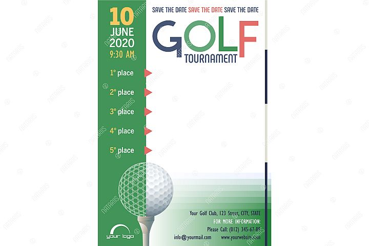 Save the date. Golf Tournament poster template.