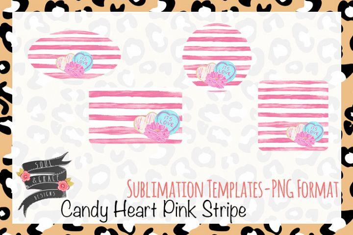 Candy Heart Pink Stripe Sublimation Templates