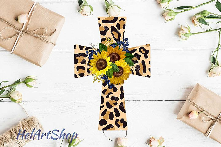 Cross Png, Sunflower, Faith png, Sublimation png, Leopard cr