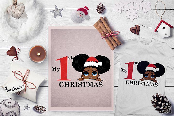 My 1st Christmas Afro Peeking Girl Santa Hat Smile SVG File