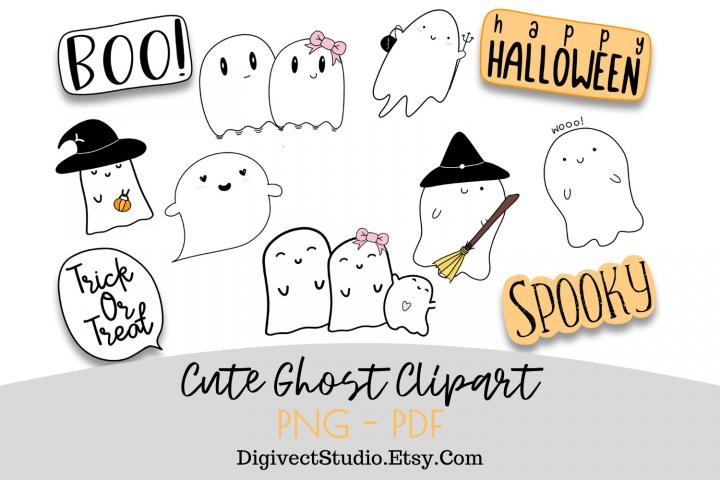 Halloween Ghost Clipart - Set of 10 - Digital Scrapbook