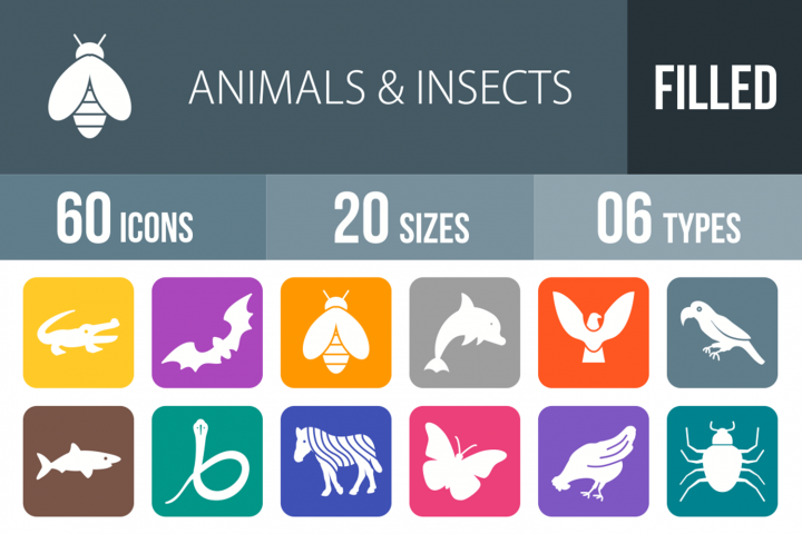 60 Animals & Insects Filled Round Corner Icons