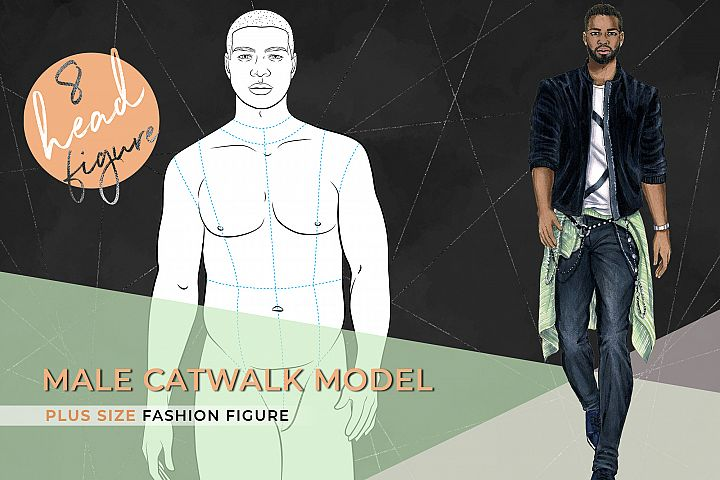 Male plus size croqui- Catwalk Model 8 heads figure