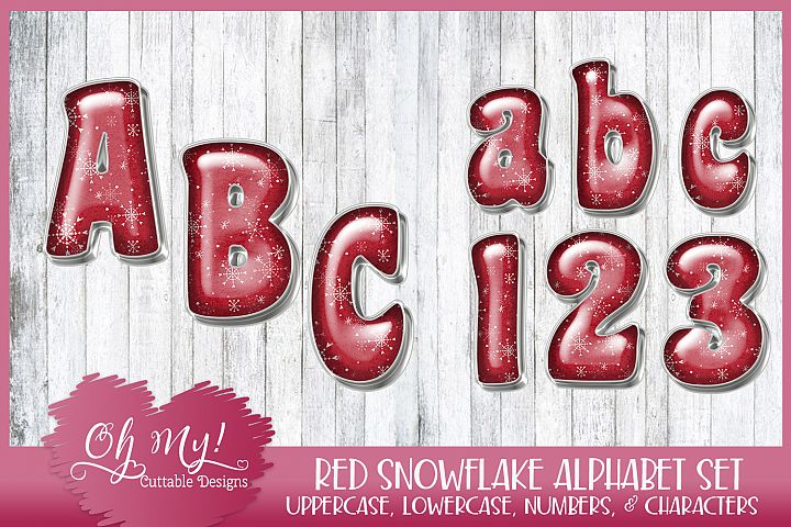 Red Snowflake Alphabet Bundle Clipart Graphics