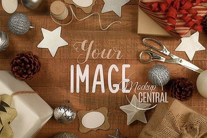 Rustic Christmas Background Tabletop Mock Up, JPG Mockup