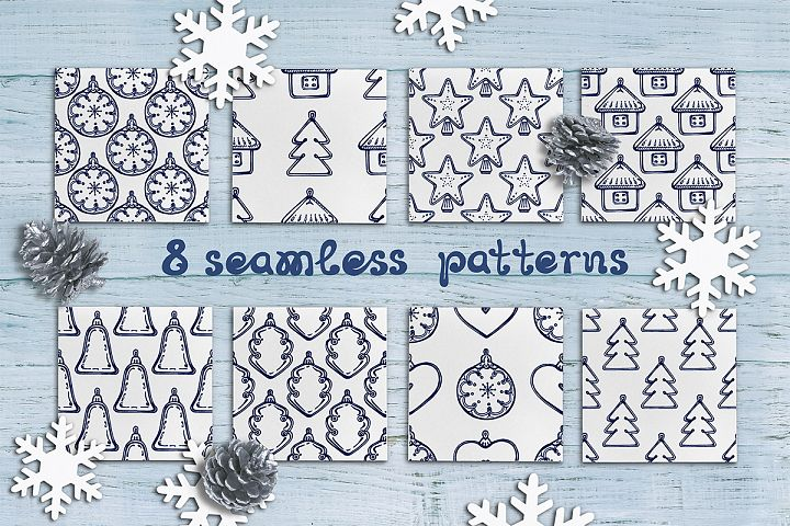 8 hand drawn seamless patterns with Christmas decorations