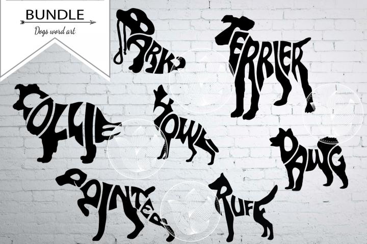 Bundle Digital Dogs Word Art in shape, Dogs svg, png, eps