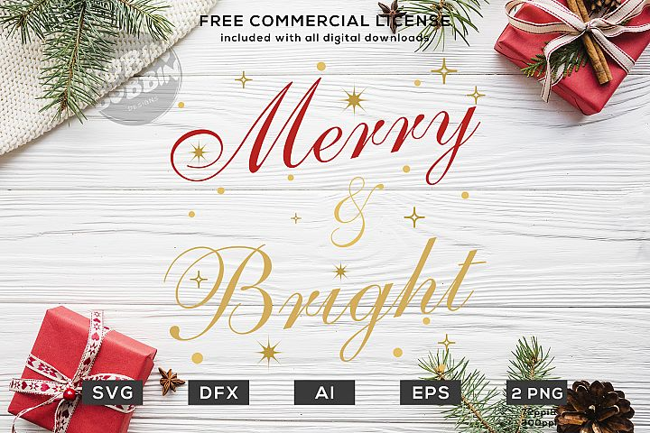 Merry And Bright - Christmas SVG File