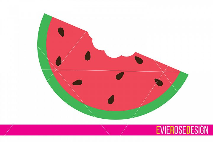Watermelon Clipart and Cut File Set - Includes Layered SVG