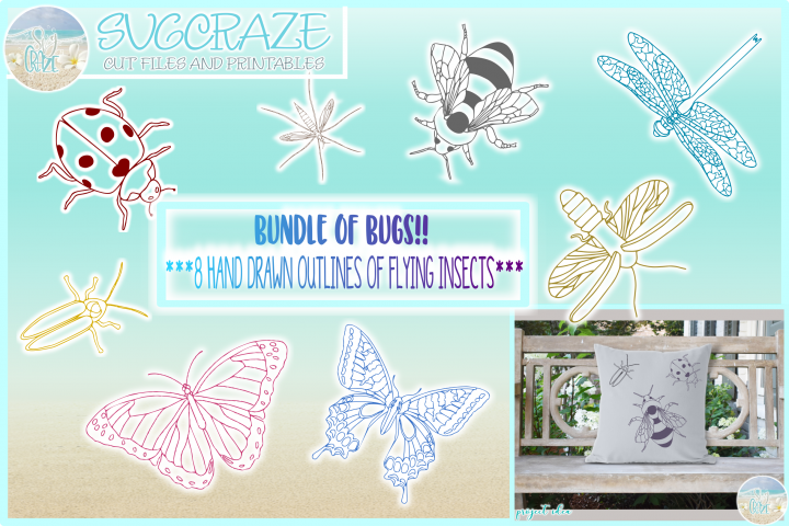Bundle of Bugs Flying Insects Outlines SVG