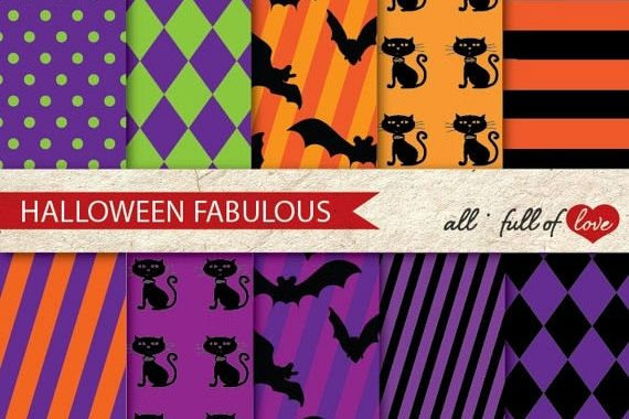 Halloween Digital Paper Pack Bats and Cats Background Patterns