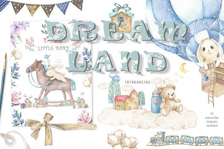 Dream Land Watercolor Cute Bunnys