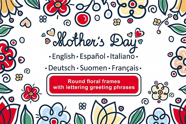 Greeting cards for Mothers Day in different languages. English, German, Finnish, Spanish, Italian, French
