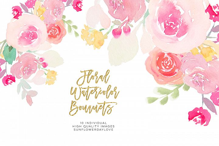 Pink and gold watercolor floral clipart