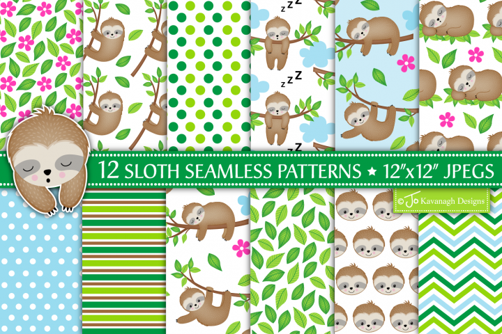 Sloth Digital Papers, Sloth Patterns, Cute Sloths -P30