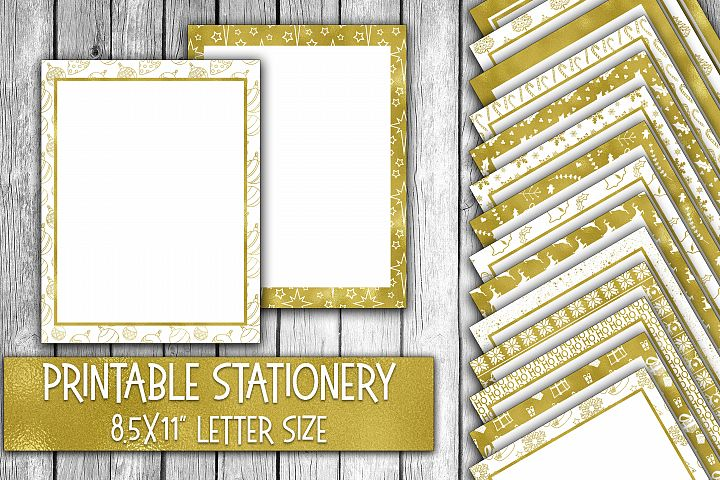 Christmas Stationery - Shiny Gold Foil Digital Paper