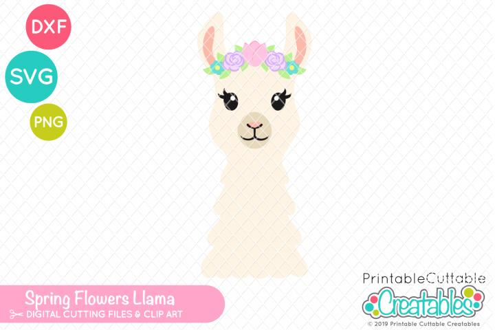 Spring Flowers Llama SVG