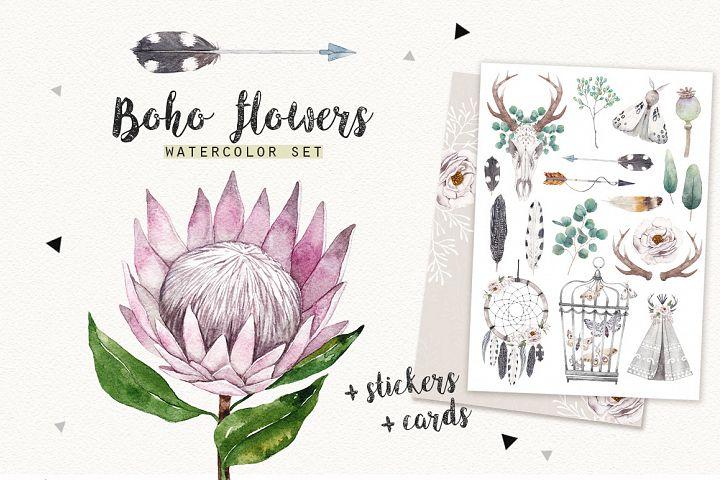 BOHO FLOWERS watercolor set