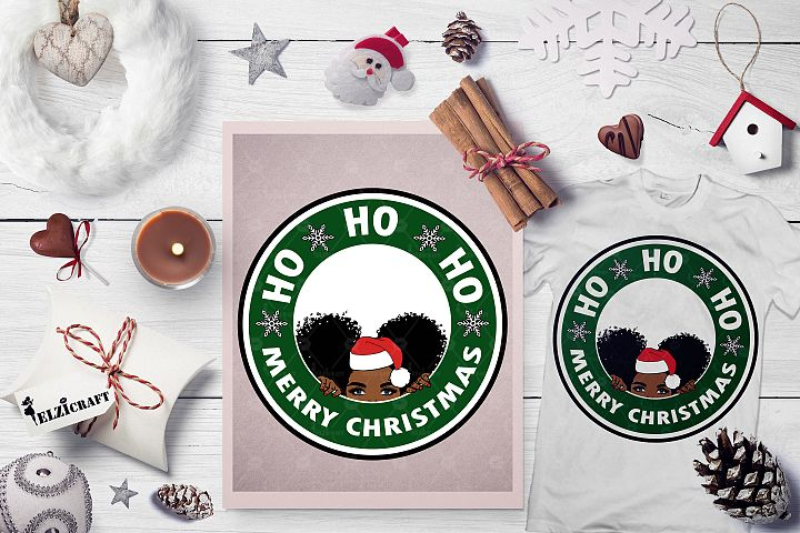 Ho ho ho Merry Christmas, Cute Afro Girl Peeking, Santa SVG