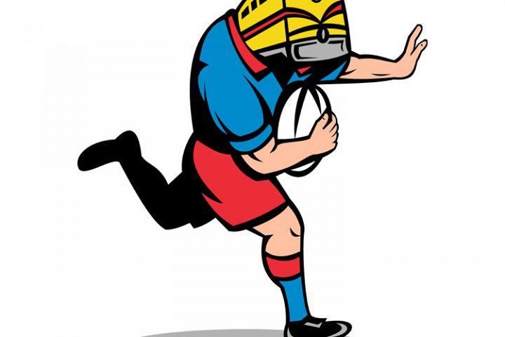 rugby player train mascot running fending ball