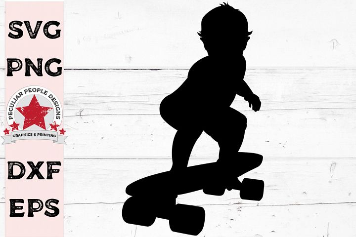 Baby On Board Skate Silhouette Car Decal SVG cutting file