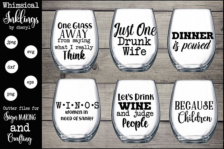 One Glass Away Wine SVG Set - Free Design of The Week