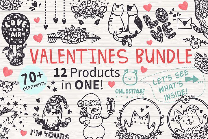 VALENTINES day svg BUNDLE , Valentine Clipart, Valentines D