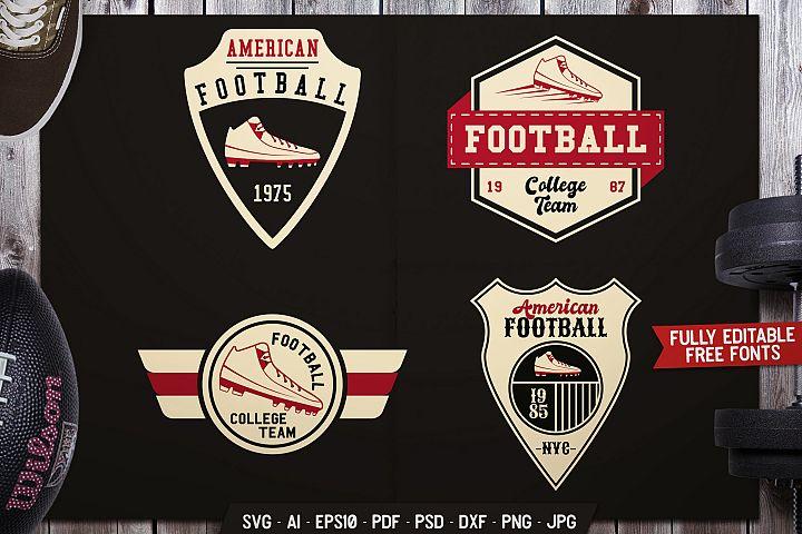 American Football Badges Set, Sports Labels Vector SVG Cut F