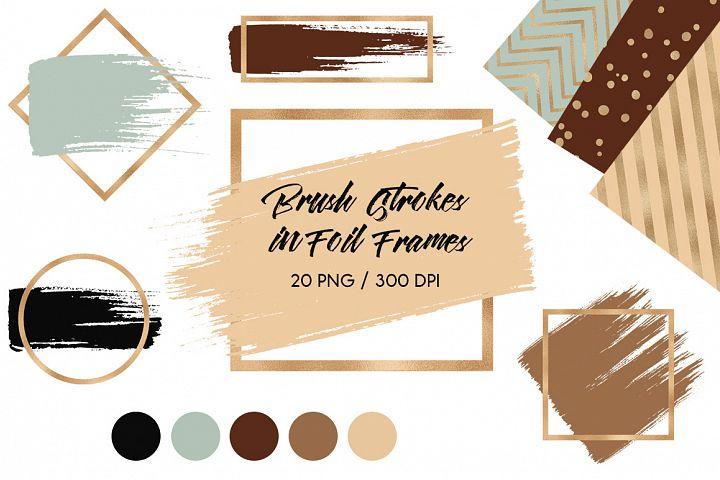 Brush Strokes & Brown Gold Frames