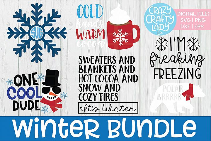 Winter SVG DXF EPS PNG Cut File Bundle