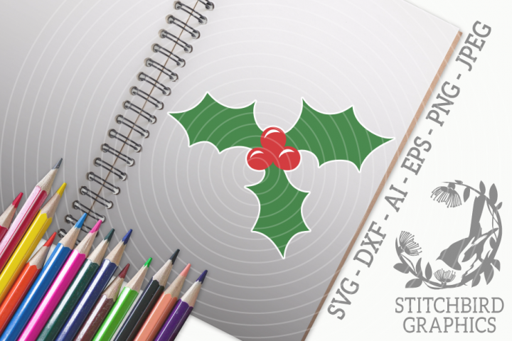 Holly SVG, Silhouette Studio, Cricut, Eps, Dxf, AI, PNG