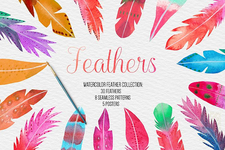 Watercolor Feathers Clipart, Pattern, Poster Wedding Clipart