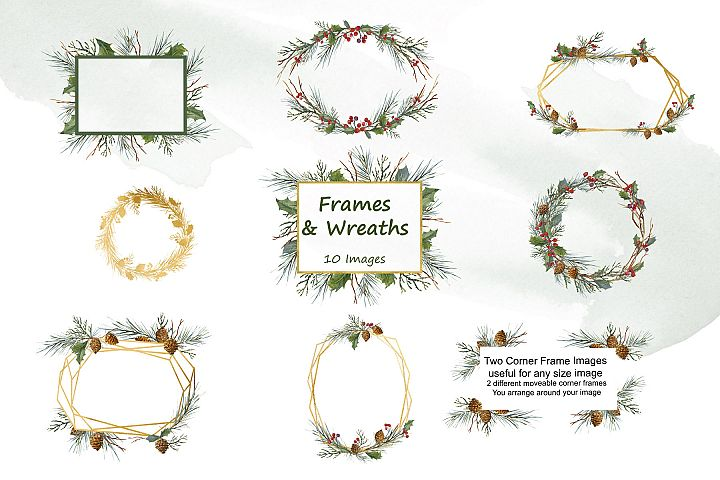 Winter Greens - Watercolor Clip Art - Frames and Wreaths