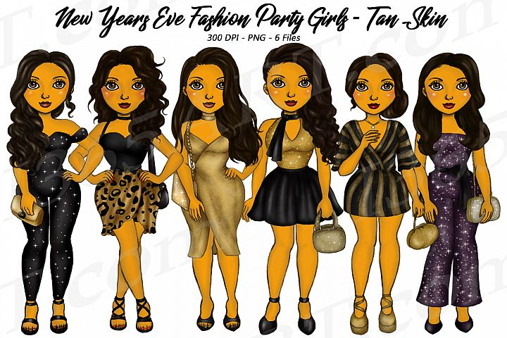 New Years Eve Party Brown Skin Tan Girls Fashion Clipart