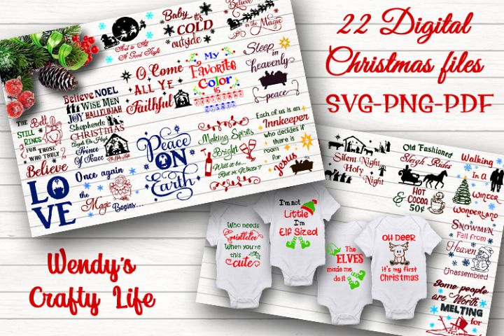 Christmas digital bundle of 22designs - SVG, PNG & PDF