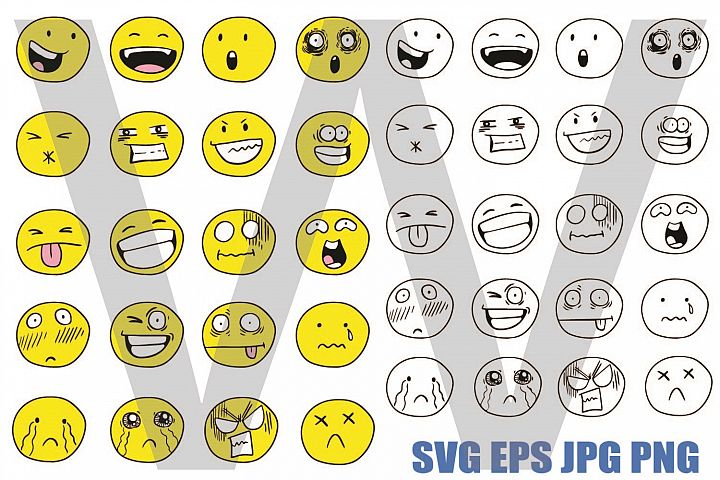Round Funny Face - SVG EPS JPG PNG
