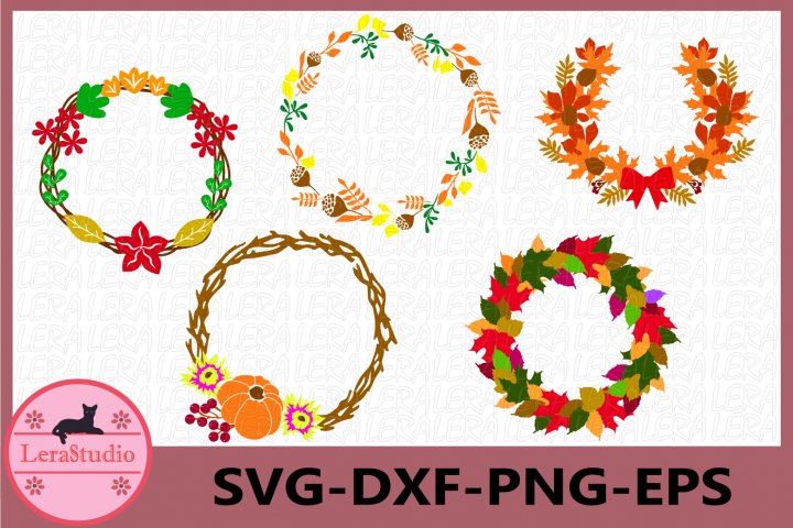 Fall SVG, Autumn SVG Files, Autumn Wreath Clipart, Fall