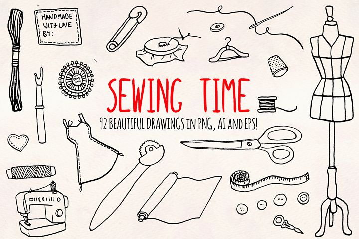90 Sewing, Dressmaker and Craft Vector Graphics