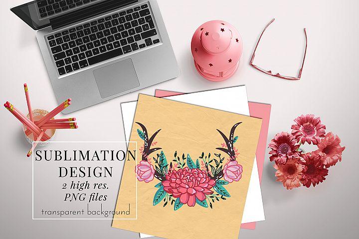 floral antler1 sublimation designs, PNG sublimation transfer