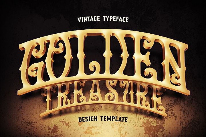 Golden Treasure font & template