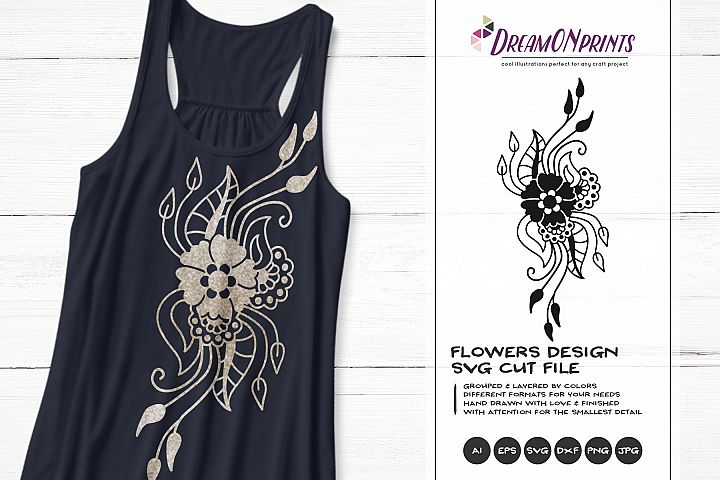Flowers SVG Cut File | Flowers Zentangle