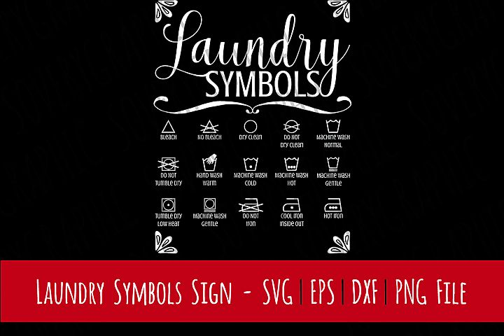 Laundry Room Symbols Sign | SVG Cut File | PNG Printable