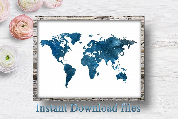 World map wall art printable download files