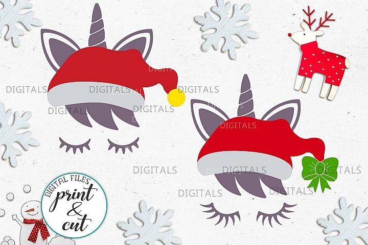 Christmas unicorn in Santa hat eyelashes svg pdf cut print
